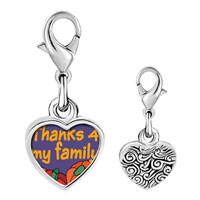 Link Charm Bracelet - 925  sterling silver thanks 4  my family photo heart frame link charm Image.