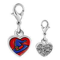 Link Charm Bracelet - 925  sterling silver halloween witch hat photo heart frame link charm Image.