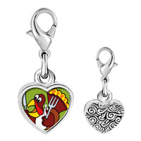 Link Charm Bracelet - 925  sterling silver hungry thanksgiving turkey photo heart frame link charm Image.