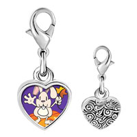 Link Charm Bracelet - 925  sterling silver autumn jack o lantern halloween pumpkin rabbit photo heart frame link charm Image.