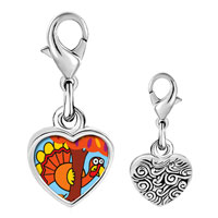 Link Charm Bracelet - 925  sterling silver hiding thanksgiving turkey photo heart frame link charm Image.