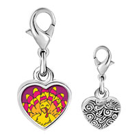 Link Charm Bracelet - 925  sterling silver bright yellow turkey photo heart frame link charm Image.
