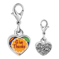 Link Charm Bracelet - 925  sterling silver give thanks in thanksgiving photo heart frame link charm Image.