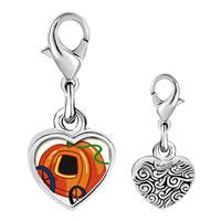 Link Charm Bracelet - 925  sterling silver jack o lantern halloween pumpkin princess stage coach photo heart frame link charm Image.