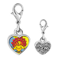 Link Charm Bracelet - 925  sterling silver colorful autumn turkey photo heart frame link charm Image.