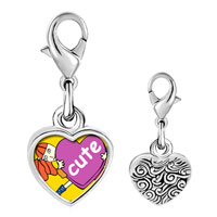 Link Charm Bracelet - 925  sterling silver one cute heart photo heart frame link charm Image.