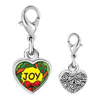 Link Charm Bracelet - 925  sterling silver joy christmas wreath photo heart frame link charm Image.