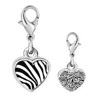 Link Charm Bracelet - 925  sterling silver zebra skin photo heart frame link charm Image.