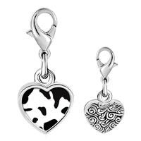 Link Charm Bracelet - 925  sterling silver cow skin photo heart frame link charm Image.