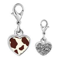 Link Charm Bracelet - 925  sterling silver brown cow skin photo heart frame link charm Image.
