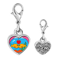 Link Charm Bracelet - 925  sterling silver goldfish in love photo heart frame link charm Image.