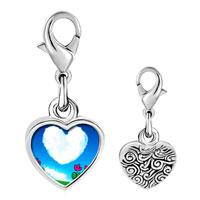 Link Charm Bracelet - 925  sterling silver heart shape cloud photo heart frame link charm Image.