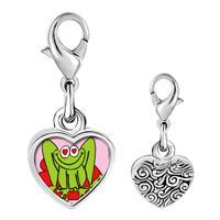 Link Charm Bracelet - 925  sterling silver lovable frog photophoto heart frame link charm Image.