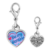 Link Charm Bracelet - 925  sterling silver be my valentine photo heart frame link charm Image.