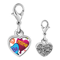 Link Charm Bracelet - 925  sterling silver be mine heart balloons photo heart frame link charm Image.