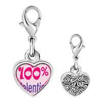 Link Charm Bracelet - 925  sterling silver %  heart valentine photo heart frame link charm Image.