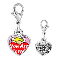 Link Charm Bracelet - 925  sterling silver you are loved by an angel photo heart frame link charm Image.