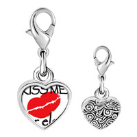 Link Charm Bracelet - 925  sterling silver kiss me or else photo heart frame link charm Image.
