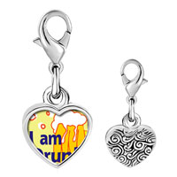Link Charm Bracelet - 925  sterling silver i am drunk photo heart frame link charm Image.