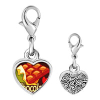 Link Charm Bracelet - 925  sterling silver chocolate love photo heart frame link charm Image.