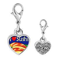 Link Charm Bracelet - 925  sterling silver i heart sushi photo heart frame link charm Image.