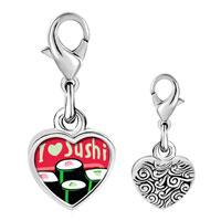 Link Charm Bracelet - 925  sterling silver i heart sushi rollsphoto heart frame link charm Image.