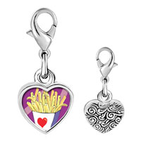 Link Charm Bracelet - 925  sterling silver love french fries photo heart frame link charm Image.