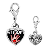 Link Charm Bracelet - 925  sterling silver baby giving heart to mom photo heart frame link charm Image.