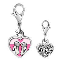 Link Charm Bracelet - 925  sterling silver salt and pepper love photo heart frame link charm Image.