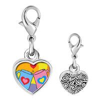Link Charm Bracelet - 925  sterling silver valentine heart mugs photo heart frame link charm Image.