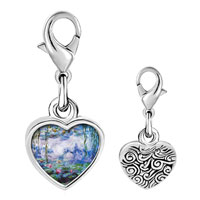Link Charm Bracelet - 925  sterling silver water lillies painting photo heart frame link charm Image.