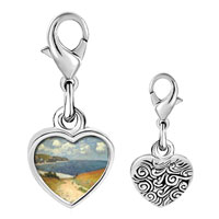 Link Charm Bracelet - 925  sterling silver path in the wheat photo heart frame link charm Image.
