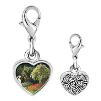 Link Charm Bracelet - 925  sterling silver lady in a garden painting photo heart frame link charm Image.