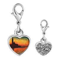 Link Charm Bracelet - 925  sterling silver sunset in venice painting photo heart frame link charm Image.