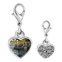 Link Charm Bracelet - 925  sterling silver la grenouillers painting photo heart frame link charm Image.