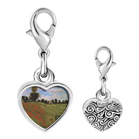 Link Charm Bracelet - 925  sterling silver path in the wheat at pourville painting photo heart frame link charm Image.