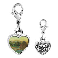 Link Charm Bracelet - 925  sterling silver wheatstacks painting photo heart frame link charm Image.
