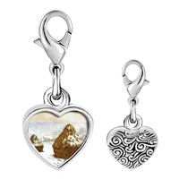 Link Charm Bracelet - 925  sterling silver grainstacks snow effect painting photo heart frame link charm Image.