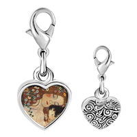 Link Charm Bracelet - 925  sterling silver mom and baby painting photo heart frame link charm Image.