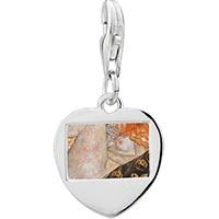 Link Charm Bracelet - 925  sterling silver body artphoto heart frame link charm Image.