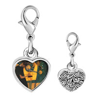 Link Charm Bracelet - 925  sterling silver musique painting photo heart frame link charm Image.