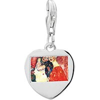 Link Charm Bracelet - 925  sterling silver daughter and motherphoto heart frame link charm Image.