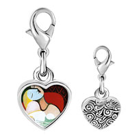 Link Charm Bracelet - 925  sterling silver the dream painting photo heart frame link charm Image.