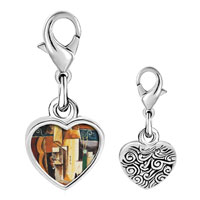 Link Charm Bracelet - 925  sterling silver violin and guitar painting photo heart frame link charm Image.