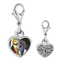 Link Charm Bracelet - 925  sterling silver head of a girl reading painting photo heart frame link charm Image.