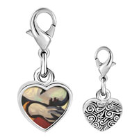 Link Charm Bracelet - 925  sterling silver rest painting photo heart frame link charm Image.