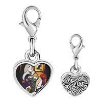 Link Charm Bracelet - 925  sterling silver woman with book painting photo heart frame link charm Image.
