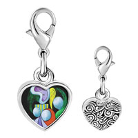 Link Charm Bracelet - 925  sterling silver woman with a flower painting photo heart frame link charm Image.
