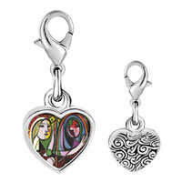 Link Charm Bracelet - 925  sterling silver girl before a mirror painting photo heart frame link charm Image.