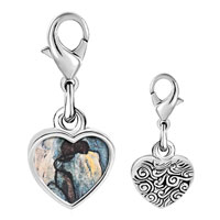 Link Charm Bracelet - 925  sterling silver blue nude painting photo heart frame link charm Image.